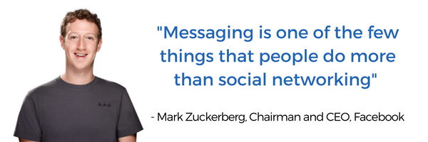 messaging apps in ecommerce quote by Mark Zuckerberg CEO of Facebook